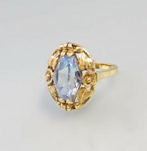 8525033 585er Gold Blautopas-Ring alt Handarbeit