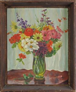 8560016 Öl-Gemälde Streich Gartenblumen Stillleben