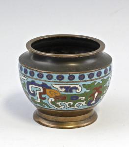 8339040 Cloisonné-Vasenschale  Vase Schale Messing alt