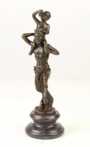 9973405-dss Bronze Skulptur Faun Bacchus Gott des Waldes des Weins 10x10x30cm