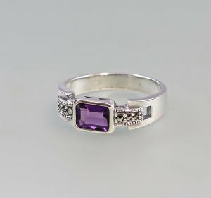 9927180 925er Silber Markasiten Ring Amethyst Gr.53