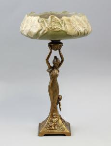 9937293-dss Bronze Keramik Jardiniere im Jugendstil Dame H64m