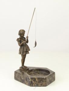 9937347-dss Marmor Schale Bronze Skulptur Figur Mädchen angelnd 23x15x16cm