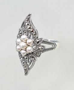 9927207 925er Silber Perlen-Ring Markasiten Gr.59