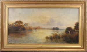 8360026 Ölgemälde signiert Barrett Herbstliche Landschaft am See Impressionismus