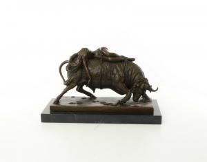 9973625-dss Bronze Figur Skulptur erotisch Europa auf dem Stier 25x18x41cm