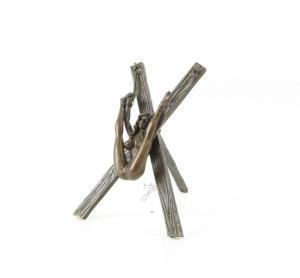 9973097-dss Bronze Figur Skulptur erotisch Akt Nackte am Kreuz 10x12x13cm
