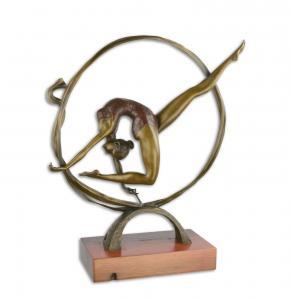 9973621-dss Bronze Figur Skulptur Akt Mädchen Nackte im Reifen 44x16x50cm