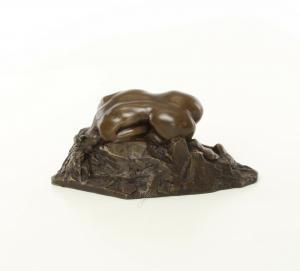 9973623-dss Bronze Figur Skulptur Akt Nackte Mädchen liegend 10x12x23cm
