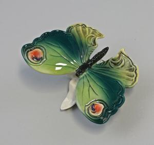 9959543 Porzellan Figur Schmetterling grün auf Blattsockel Ens 11x8x6cm