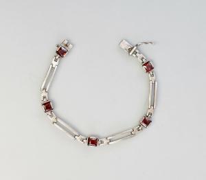 9926557 925er Silber Armband Art deco mit roten Steinen L19cm