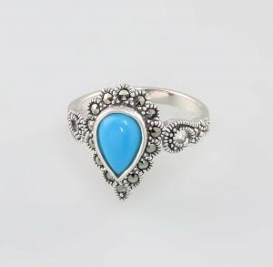 9927674 925er Silber Türkis-Markasit-Ring Gr.56 Art deco Vintage