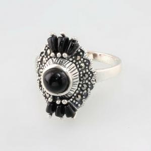 9927673 925er Silber Onyx-Markasit-Ring Gr.55 Art deco Vintage