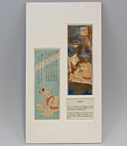 8350005 Farb-Holzschnitt Tanzaku-Shunga mit Versen Japan Mitte 19.Jh. Erotik