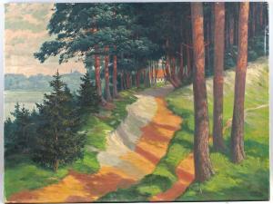8360134 Öl-Gemälde signiert Arthur Felix-Schulze Baum Allee Waldweg