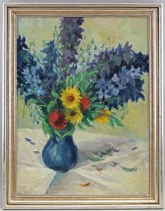 8360160 Öl-Gemälde Blumen-Stillleben Hyazinthen Gartenblumen Mitte 20.Jh.
