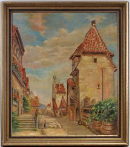 8360141 Ölgemälde signiert Adlon Ansicht einer Kleinstadt 1937