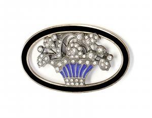 9901587 925er Silber emaillierte Jugendstil-Brosche Swarovski-Steinen Onyx 5x3cm