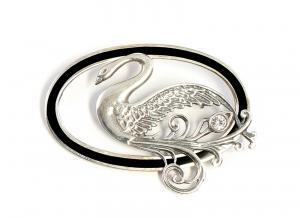 9901527 925er Silber Jugendstil-Brosche Swarovski-Stein Onyx D5cm