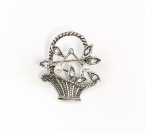 9901597 925er Silber Brosche Blumenkorb Swarovski-Steine synth.Perlen L3cm