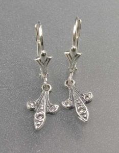 9901040 925er Silber Ohrringe stilisierte Lilie mit Swarovski-Steinen 0,7x1,8cm