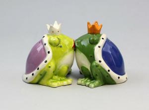 9976023 Paar Salz- u. Pfeffer Streuer Royale Frösche Frosch Keramik H8cm