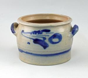 99845570 Keramik Vorrats-Topf Westerwald salzglasiert blau bemalt  H13cm