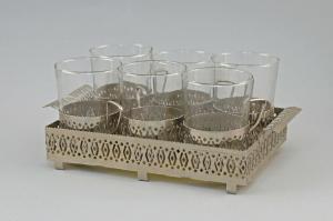 99833203 Tablett mit 6 Teeglashaltern Teegläser silberfarbenes Metall Art deco