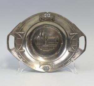 8533015 Andenken-Teller Bildteller Braunschweig Zinn Relief um 1900/20