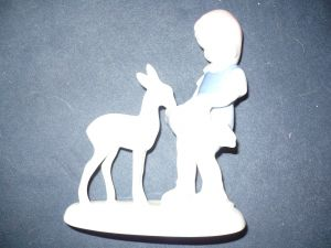 """Porcellanfigur """"Mädchen mit Kitz"""" (33)"""