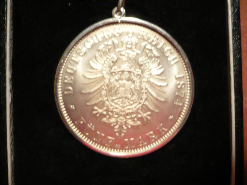 Münzanhänger Fünf Mark, Deutsches Reich Silber in Schatulle (294) 1