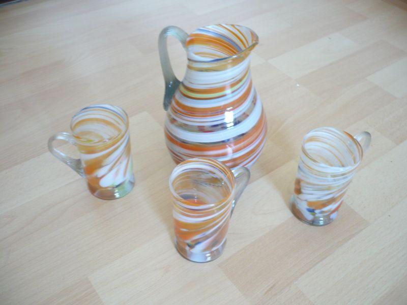 glas kanne mit 3 henkel gl ser 296 oldthing diverses glas. Black Bedroom Furniture Sets. Home Design Ideas