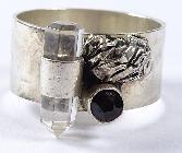 Ring,Silber -925- mit einem Granat und Bergkristall (434)