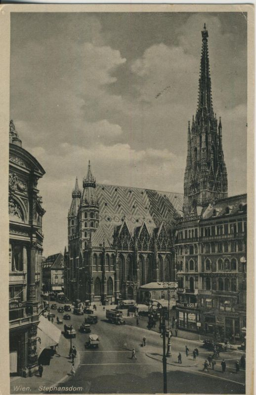 Wien v. 1934 Strasse mit Stephansdom (AK699)