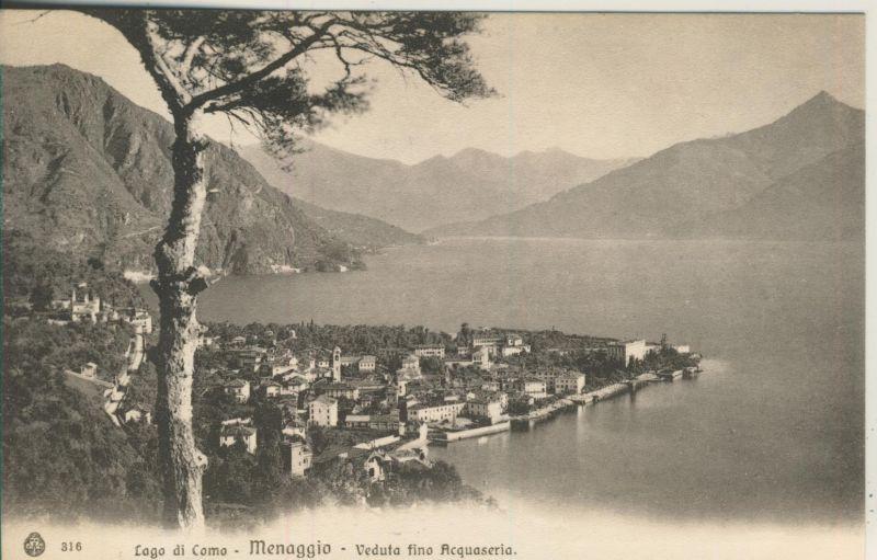 Lago di Como - Menaggio v. 1914 Teil-Stadt-Ansicht (AK1040) 0