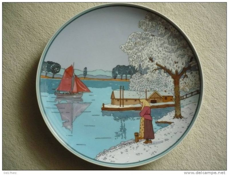 Wandteller - Villeroy & Boch - Fischer im Winter