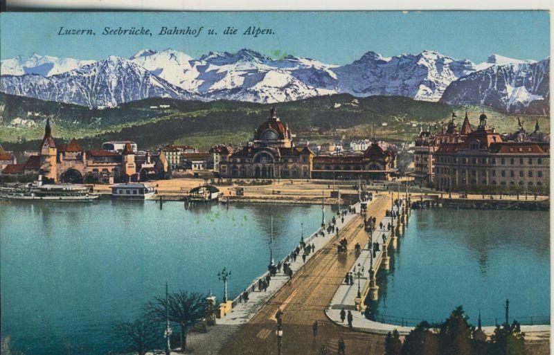 Luzern v. 1916 Teil-Stadt-Ansicht mit den Bahnhhof und Alpen (AK1112)