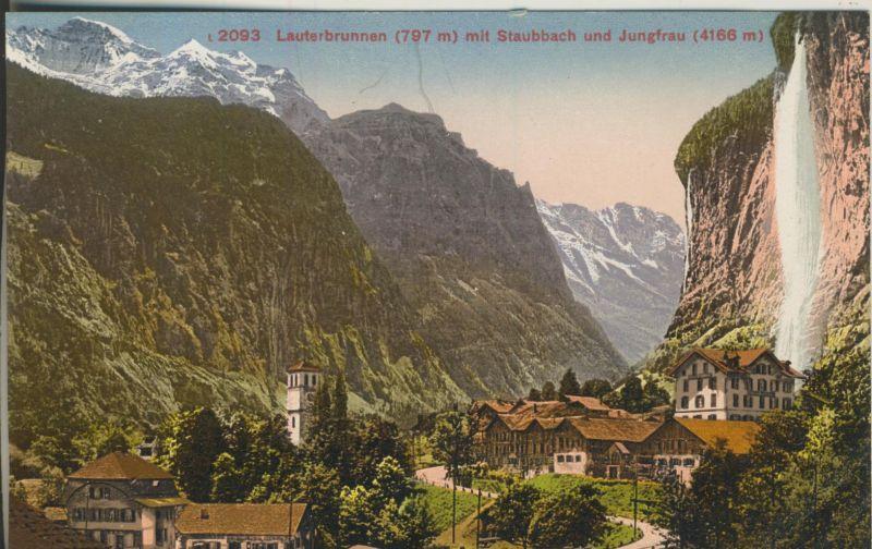 Lauterbrunnen v. 1914 Dorfansicht mit Trümmelbachfälle (AK1117)