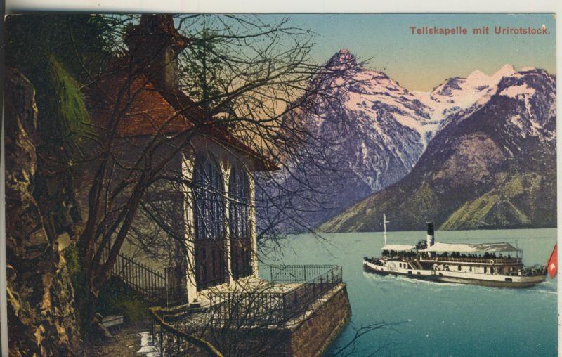 Sisikon v. 1916 Die Tellskapelle mit Urirotstock (AK1120)