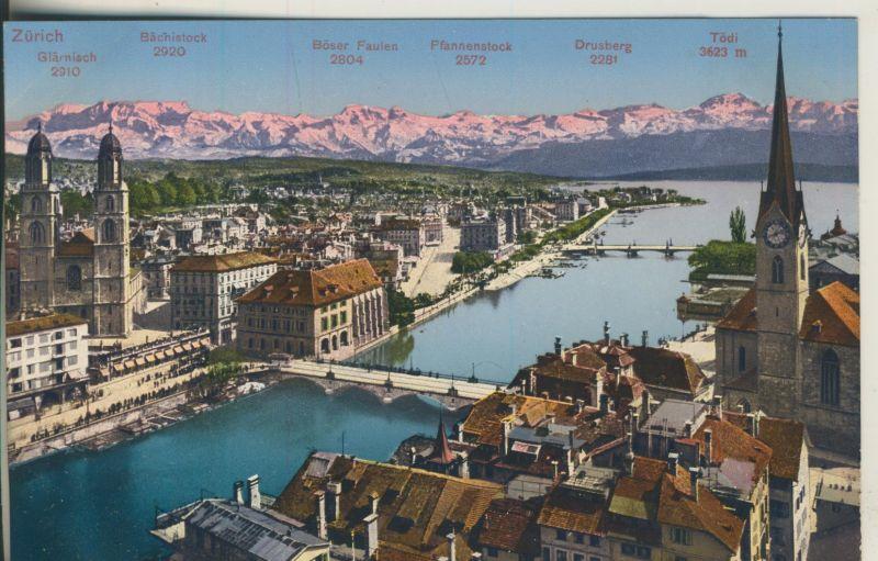 Zürich v. 1916 Teil-Stadt-Ansicht mit Alpen (AK1121)