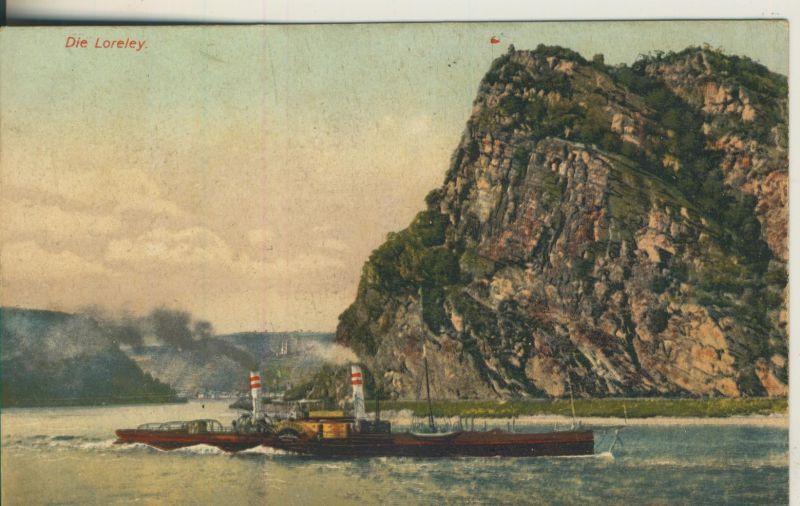 St. Goarhausen v. 1916 Die Loreley mit Raddampfschiff (AK1188)