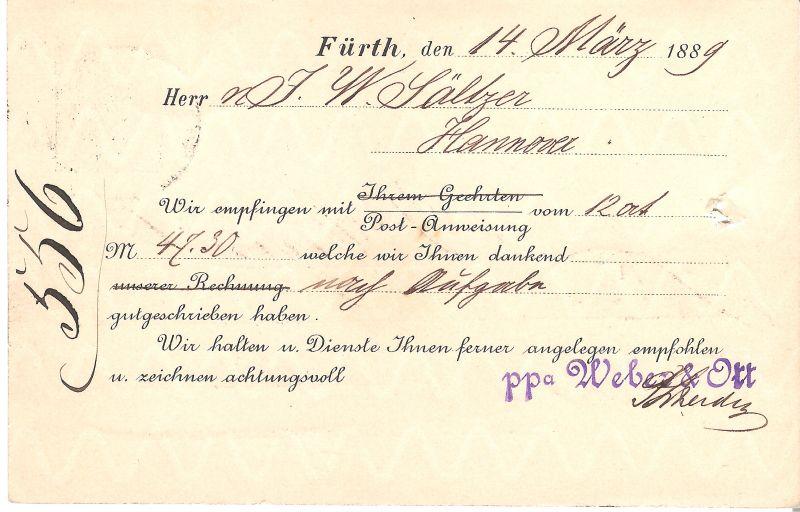 Postkarte aus Fürth v. 1889 (AK-B1)