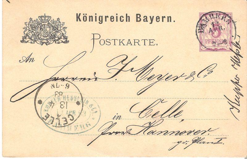 Postkarte aus Bamberg v. 1883 (AK-B2)