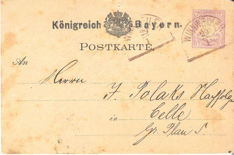 Postkarte aus Winnweiler v. 1888 (AK-B3)