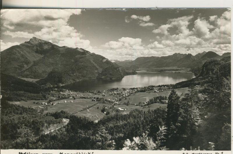 St. Gilgen v. 1962 Dorfansicht mit den Wolfgangsee vom Mozartblick gesehen (AK1231)