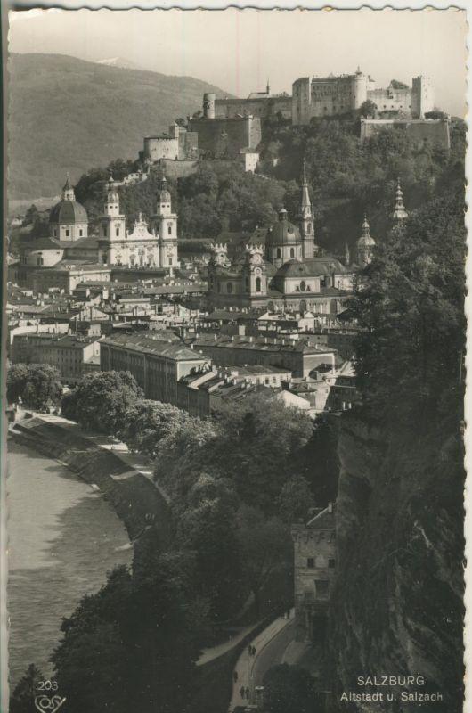 Salzburg v. 1963 Altstadt und der Fluß Salzach (AK1236)