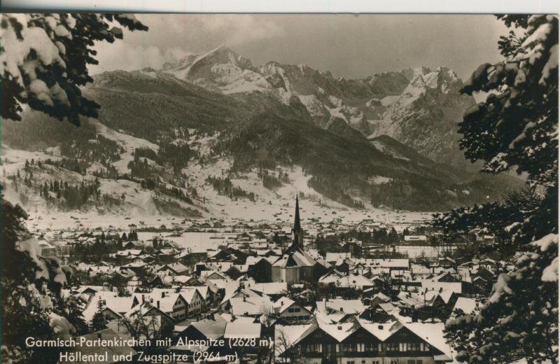 Garmisch-Partenkirchen v. 1964 Teil-Stadt-Ansicht im Winter (AK1240)