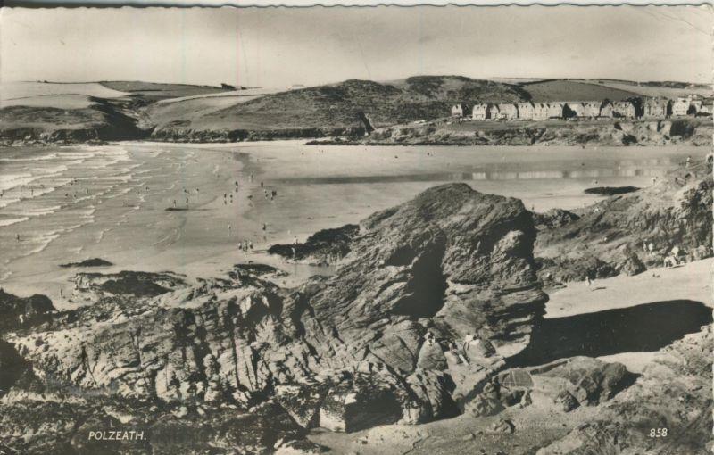 Polzeath v. 1961 Dorfansicht mit Meer (AK1248)