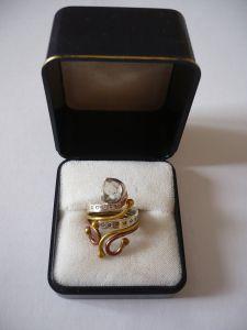 Individueller - Tri-Color-Metall Damenring mit Herkimer Diamant (647)