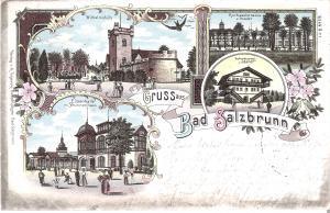 Gruss aus Salzbrunn - 4 Ansichten von 1898 (017AK)